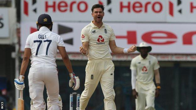 James Anderson celebrates wicket of Shubman Gill