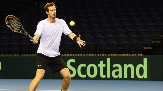 Andy Murray preparing to take on Australia in the Davis Cup semi-final