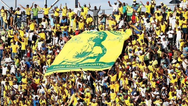 Fans of South African football club Mamelodi Sundowns