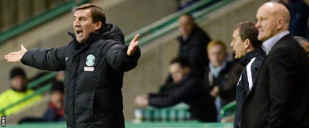 Hibernian head coach Alan Stubbs and Greenock Morton manager Jim Duffy