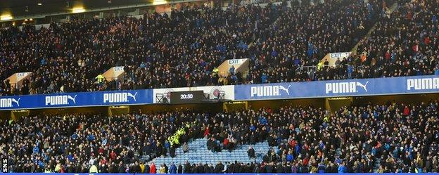 Rangers fans were forced to vacate a section of the Sandy Jardine stand on safety grounds at half-time