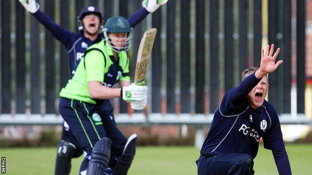 Scotland bowler Michael Leask appeals during the first T20 game against Ireland