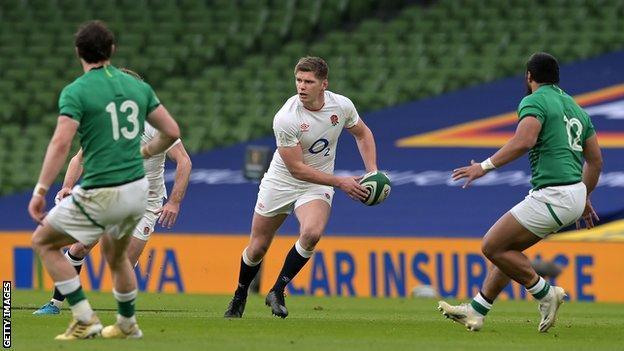 Owen Farrell playing against Ireland