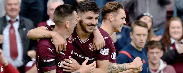 Jamie Walker, Callum Paterson and Sam Nicholson celebrate for Hearts