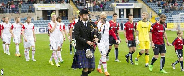 "Both teams were led on to the pitch by a piper as the club paid tribute to the ""battle of Loos"""