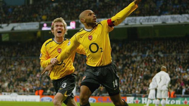 Thierry Henry scores against Real Madrid in the Champions League