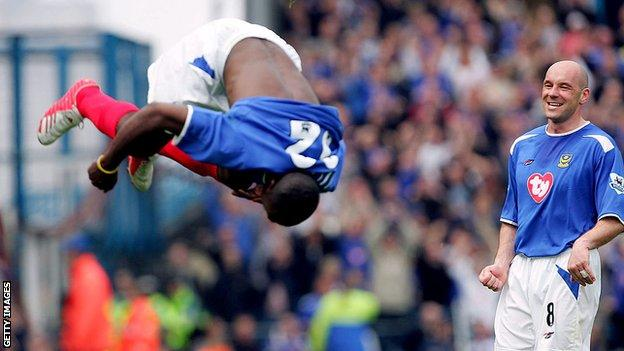 When it comes to acrobatic celebrations, few could match the efforts of former Portsmouth striker Lomano LuaLua
