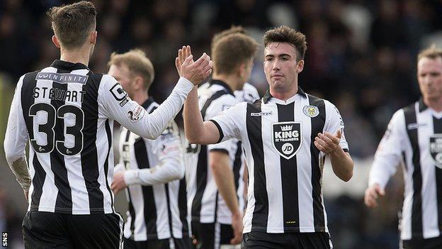 St Mirren's Stephen Mallan and Jordan Stewart (left) celebrate after Callum Tapping's own goal gave them the win