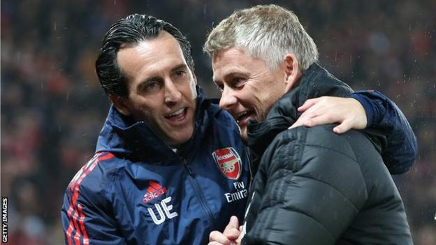 Arsenal manager Unai Emery and Manchester United boss Ole Gunnar Solskjaer