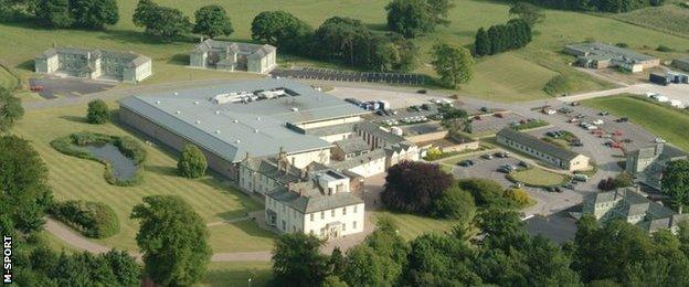 An aerial shot of Dovenby Hall, near Cockermouth