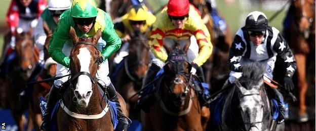 Merigo leads the field at Ayr in the 2012 Scottish Grand National