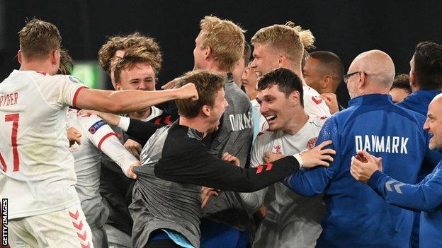 Denmark players celebrate