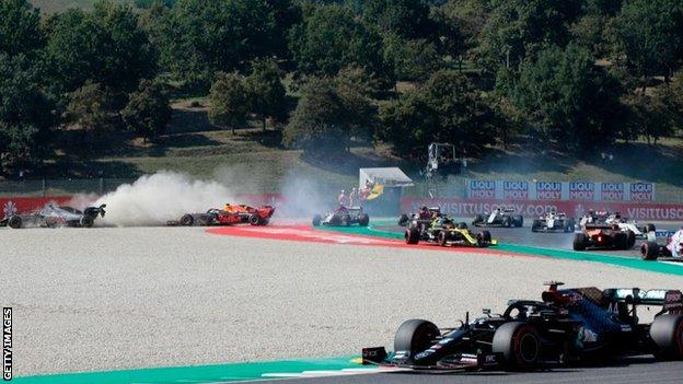 Romain Grosjean and Max Verstappen were two of the drivers who crashed out at the Tuscan Grand Prix