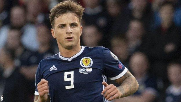 Eamonn Brophy playing for Scotland against Cyprus in June