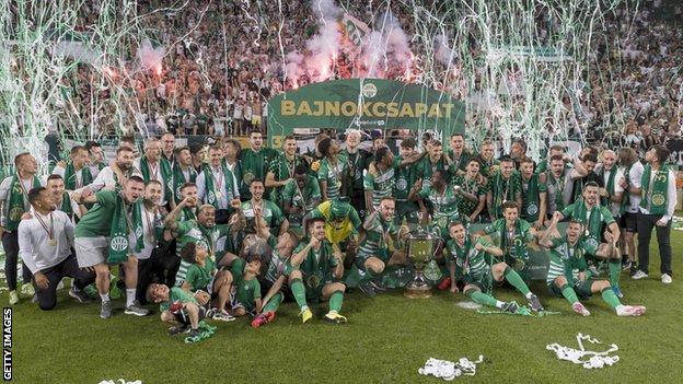 Ferencvaros celebrate their 2019-20 title win