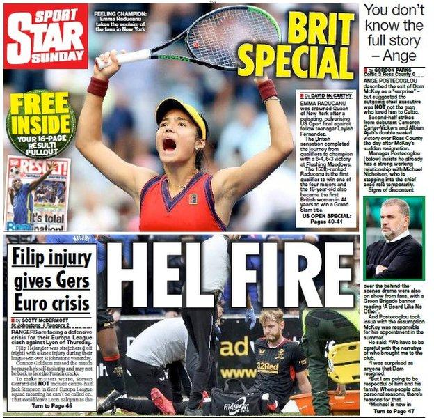 The back page of the Scottish Daily Star on 120921