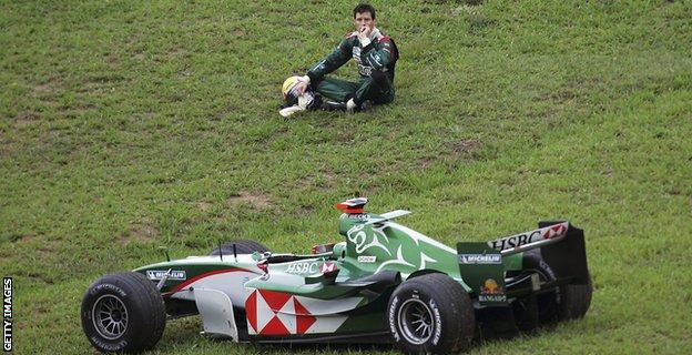 mark webber driving for jaguar in 2004