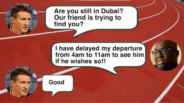 Text message exchange between Lord Coe and Papa Massata Diack on 15 August, 2015