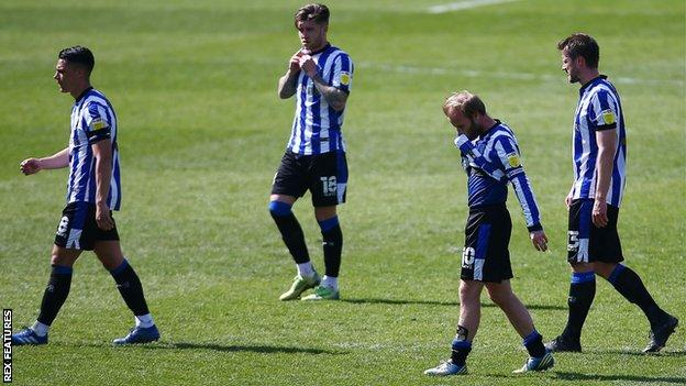Dejected Sheffield Wednesday players