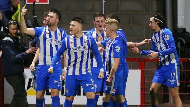 EoinBradley celebrates scoring against Larne