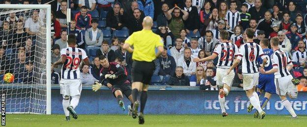 Jamie Vardy scores against West Brom