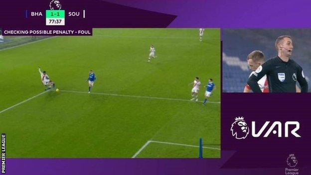 VAR Review for Southampton's penalty