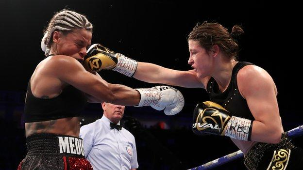 Katie Taylor (right) and Christina Linardatou (left) fight in Manchester last November