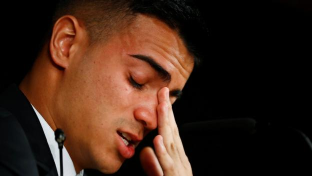 Reinier Jesus: Real Madrid signing cries during unveiling - bbc