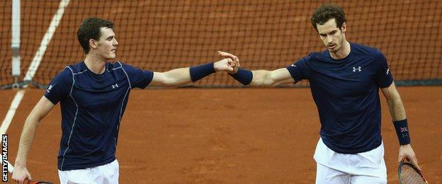 Jamie and Andy Murray won their doubles contests against France, Australia and Belgium
