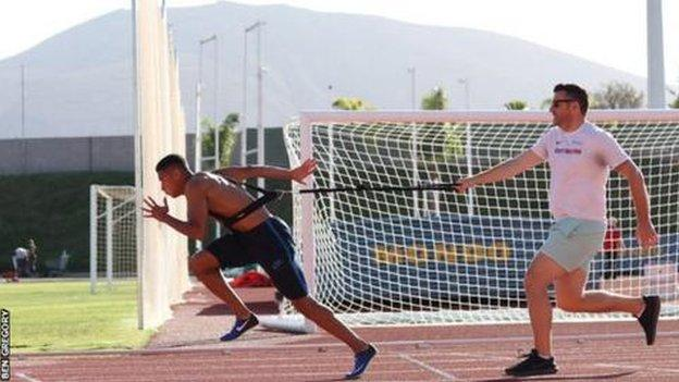 Leon Reid at the pre-Games training camp in Tenerife in January