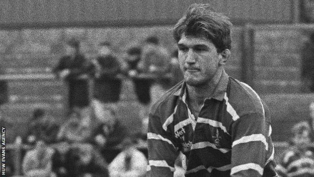 Owain Williams in action for Bridgend against Maesteg in 1991