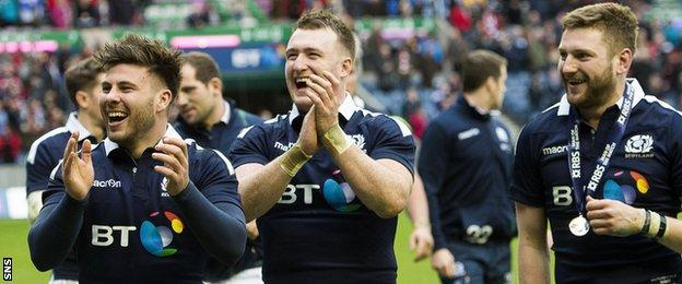 Ali Price, Stuart Hogg and Finn Russell bask in the win over Wales