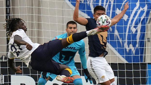 Moise Kean in action against Pumas UNAM