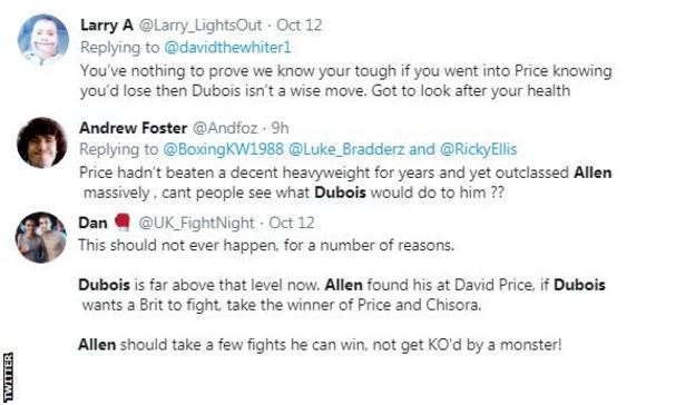 Twitter reaction to Daniel Dubois and Dave Allen
