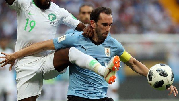 Diego Godin in action for Uruguay against Saudi Arabia