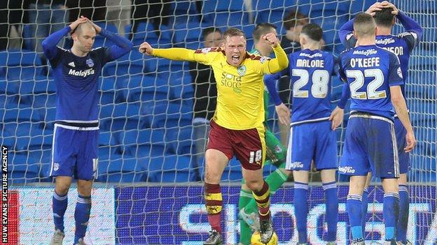 Burnley equalise against Cardiff City