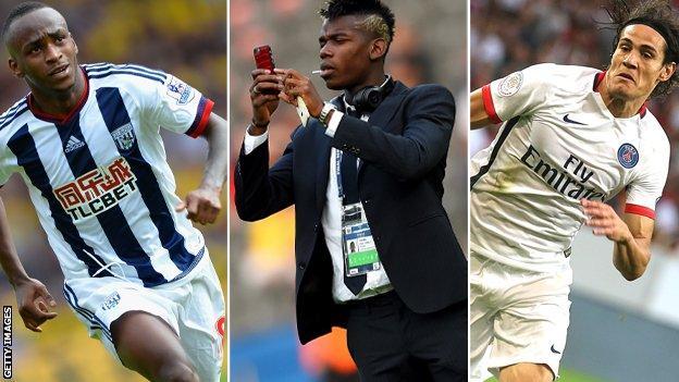 Saido Berahino, Paul Pogba and Edinson Cavani
