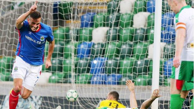 Linfield striker Andrew Waterworth bagged a hat-trick in the 4-2 home win over Cliftonville last month