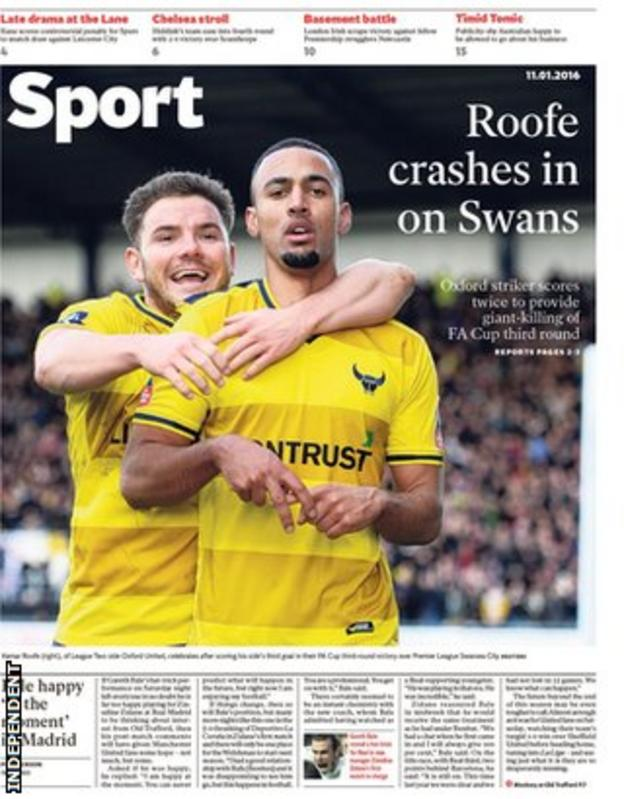 Monday's Independent Sport front page