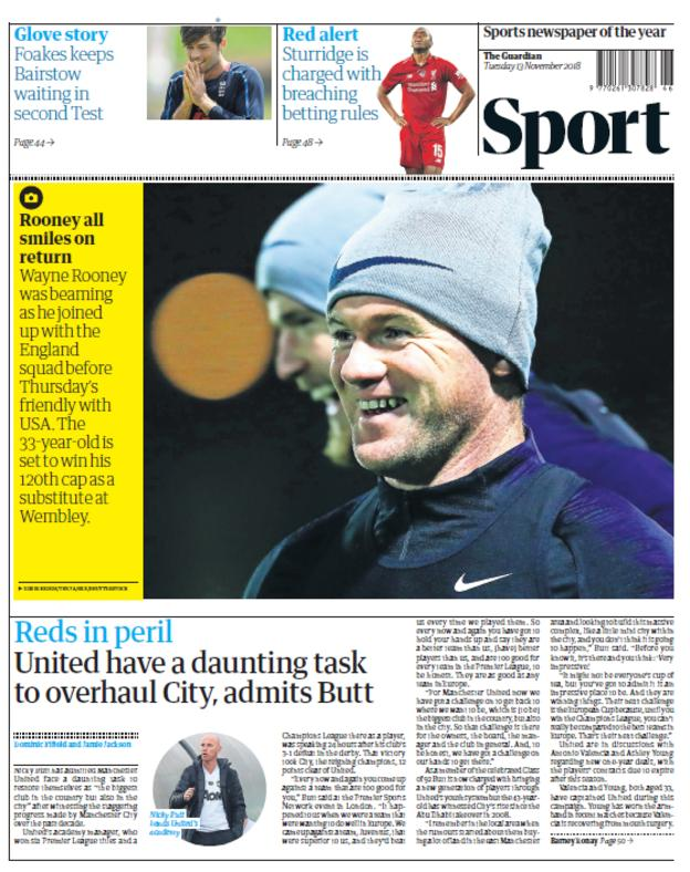 Guardian sport section on Tuesday