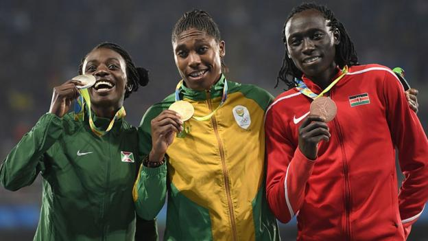 The women's 800m medal winners at Rio 2016 pose for a picture