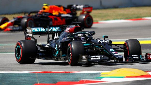environment Max Verstappen and Lewis Hamilton on track in Barcelona