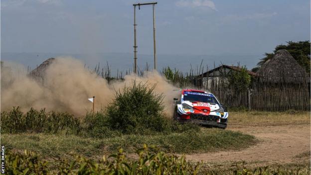 French driver Sebastien Ogier in action in Safari Rally in Kenya