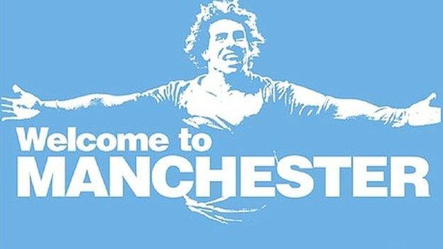 The poster that welcomed Carlos Tevez to Man City