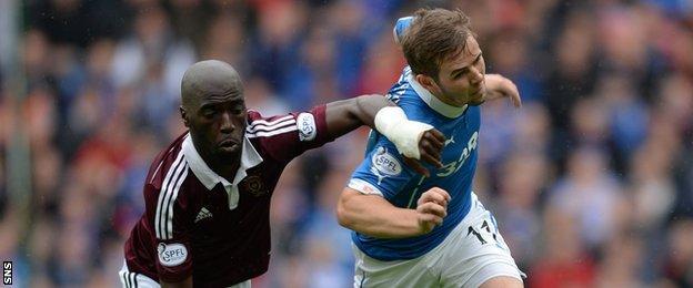 Hearts' Morgaro Gomis and Rangers' David Templeton