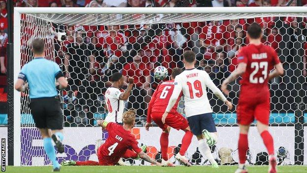 England equalise against Denmark in a Euro 2020 semi-final after an own goal by Simon Kjaer