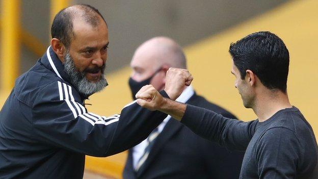 Wolves' Nuno Espirito Santo and Arsenal's Mikel Arteta