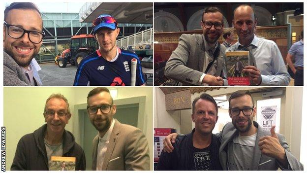 Andrew Edwards with Joe Root (top left), Nasser Hussain (top right), David Lloyd (bottom left) and Graeme Swann (bottom right).
