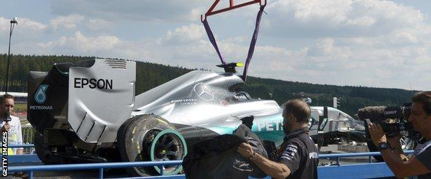 Nico Rosberg's Mercedes lifted off the Spa track