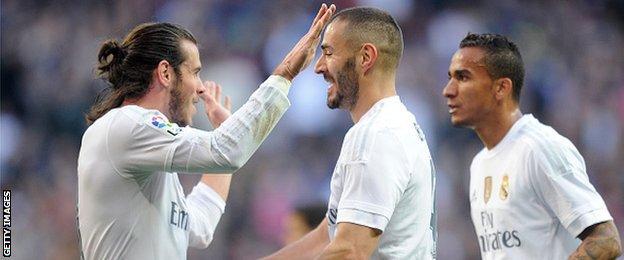 Gareth Bale celebrates scoring for Real Madrid against Getafe